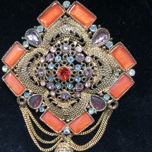 Jewelry - Vintage Enamel and Stone Brooch